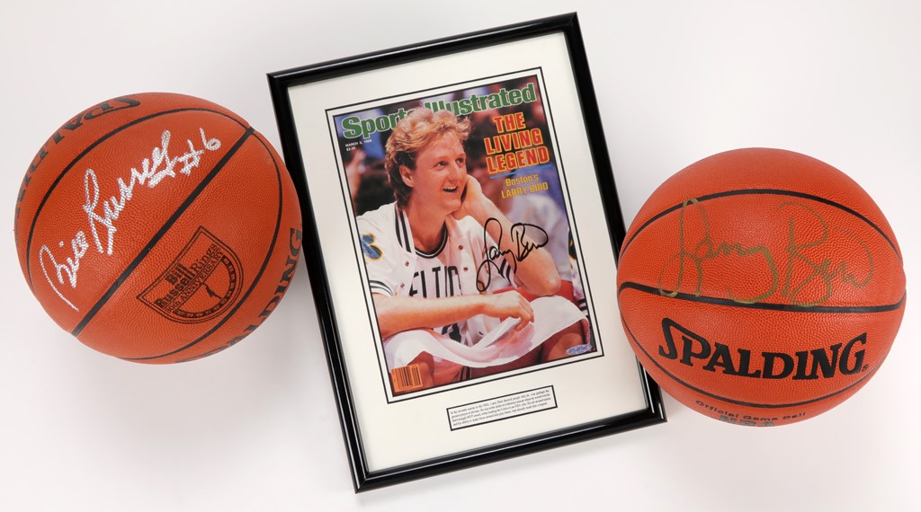 Bill Russell & Larry Bird Signed Basketballs with Bird Signed SI (UDA)