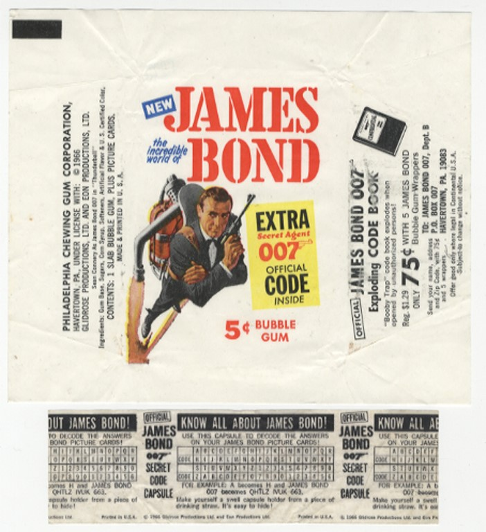 1966 James Bond Philadelphia Gum Wrapper w/ Decoder