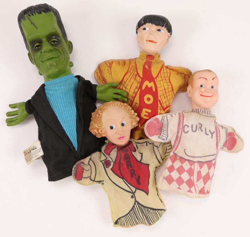 Three Stooges & Herman Munster Hand Puppets (4)