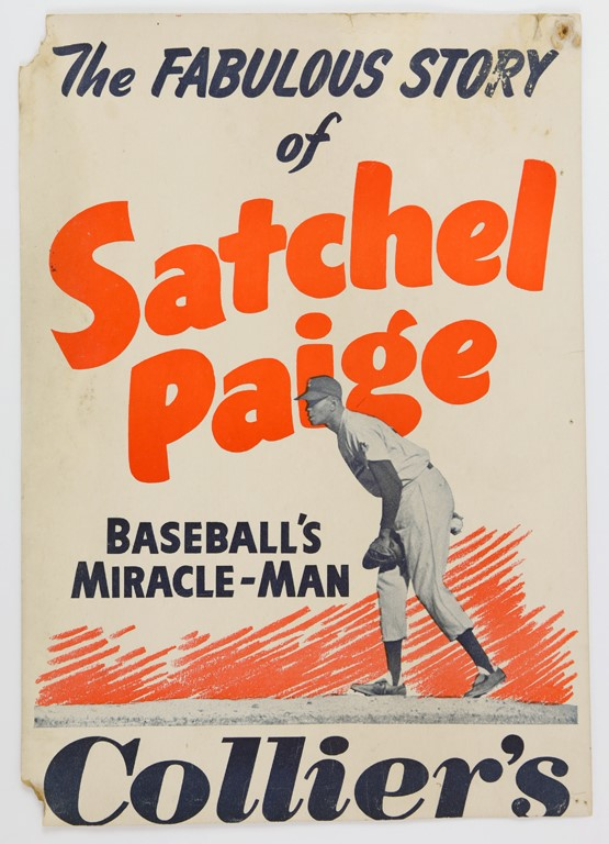 Fabulous Story of Satchel Paige Cards and Advertising Sign
