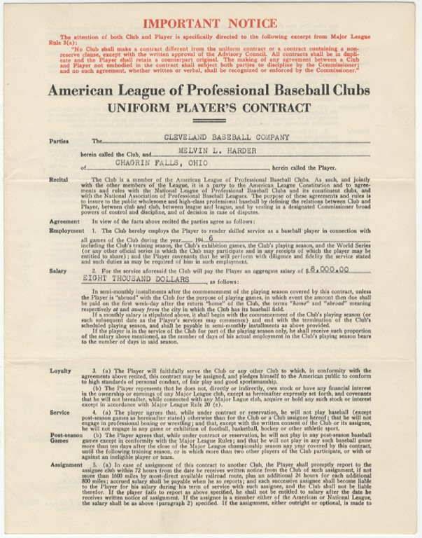 1946 Mel Harder Cleveland Indians Contract