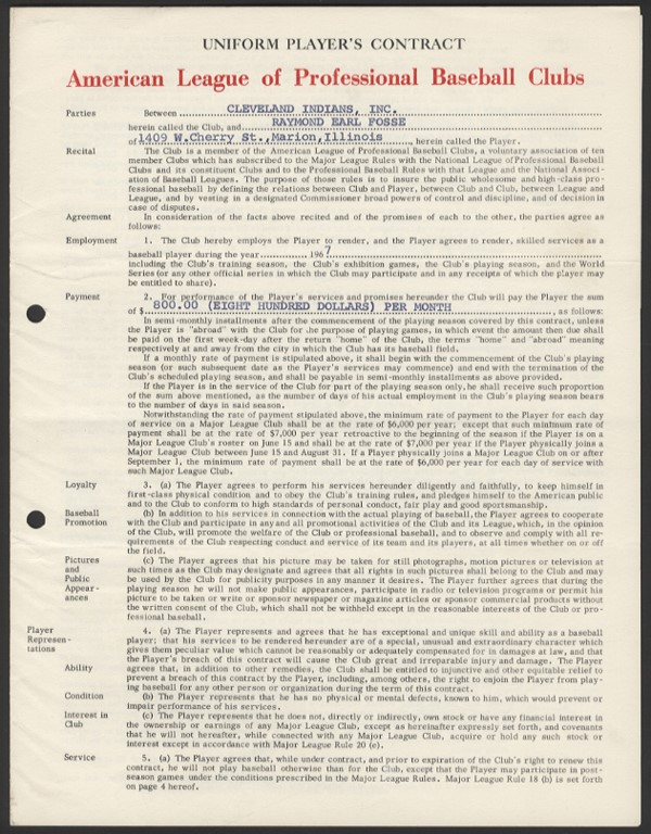 1967 Ray Fosse Cleveland Indians Contract