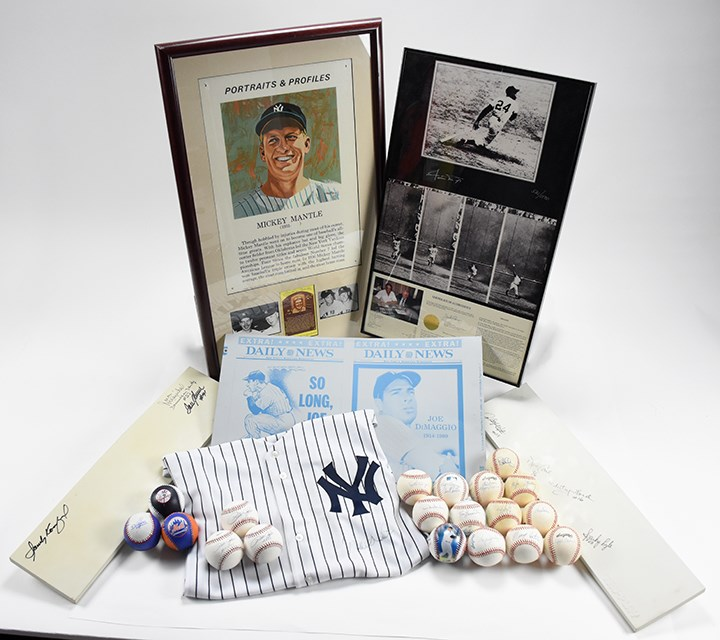 Signed Baseball Collection Jeter Jersey, Mantle, Baseballs, Pitching Mounds