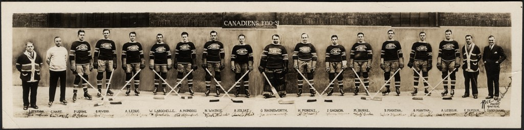 1930-31 Rice Studios NHL Montreal Canadians Panoramic Team Photo