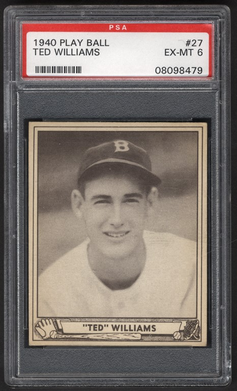 1940 Play Ball Baseball #27 Ted Williams PSA EX-MT 6