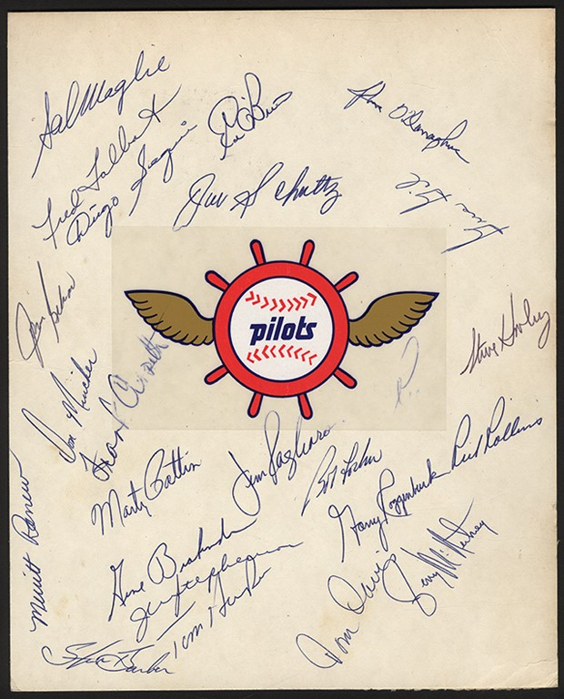 1969 Seattle Pilots Team Signed Sheet - First and Only Year