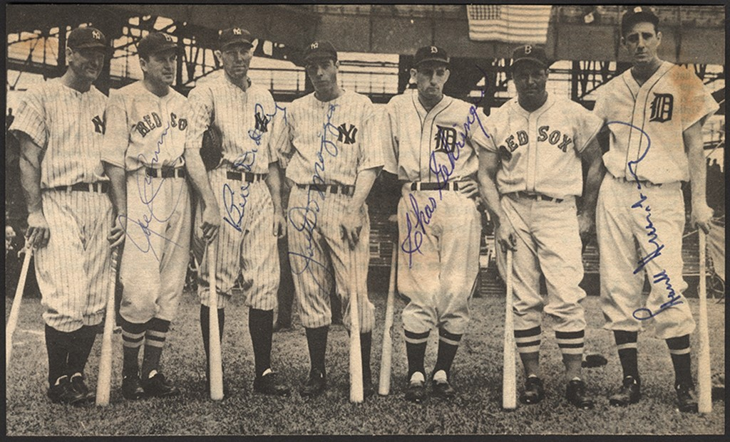 1937 American League All Star Signed Photo w/Greenberg & DiMaggio