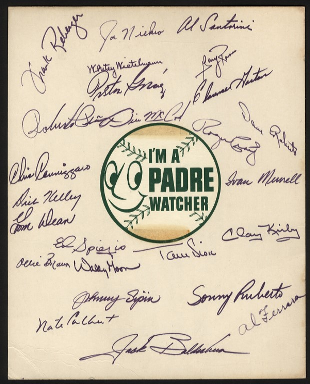 1969 San Diego Padres 1st Year in Major Leagues Team Signed Sheet