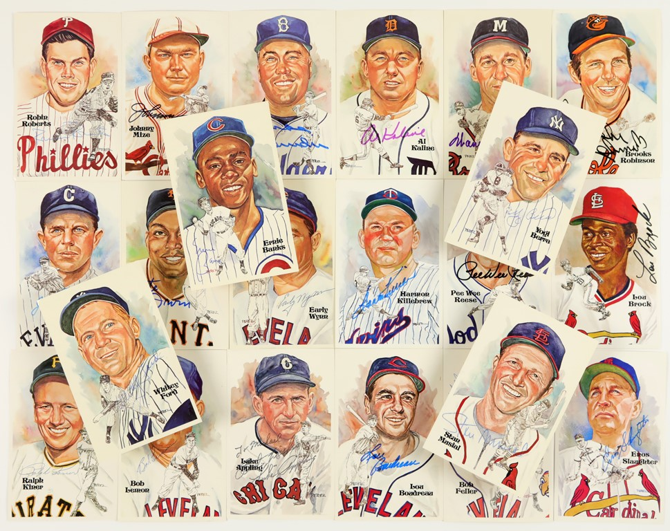 Nice Collection of Perez-Steele Signed Baseball Postcards (22)